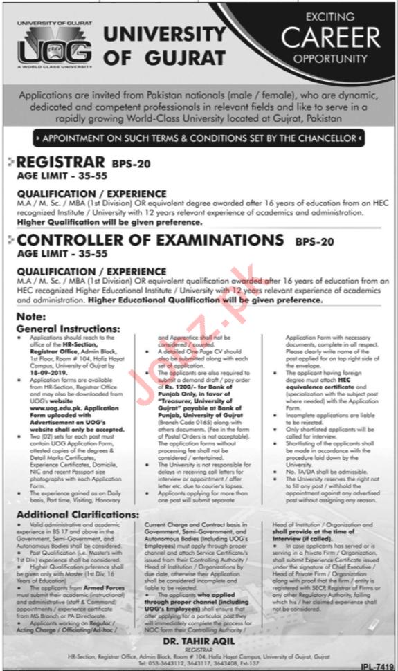 UOG University Of Gujrat Jobs 2019