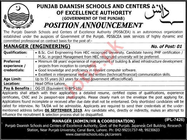 Punjab Daanish School & Center of Excellence Jobs 2019