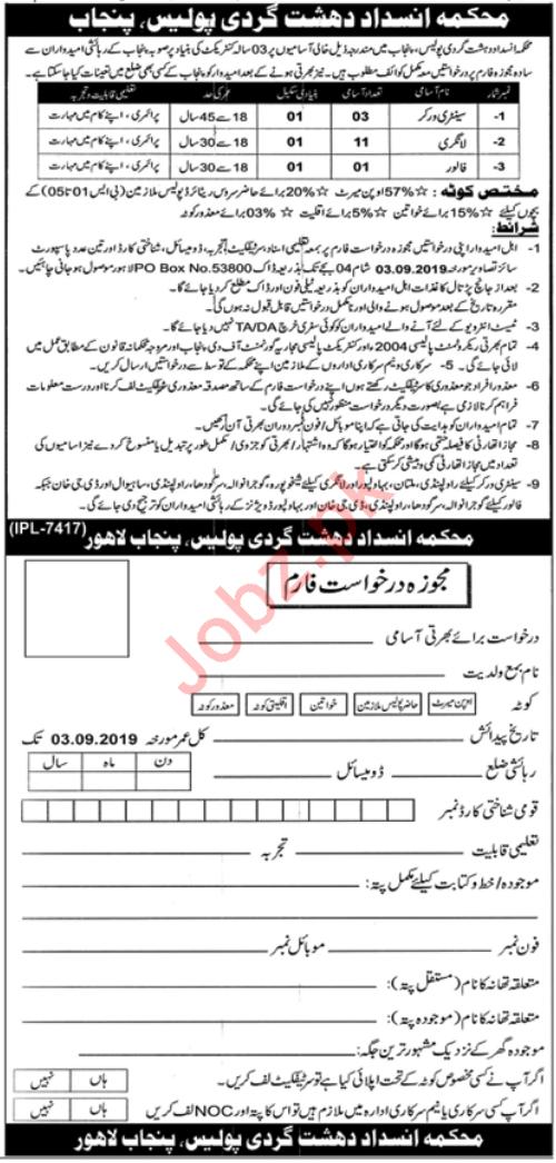 Punjab Anti Terrorism Department Police Jobs 2019