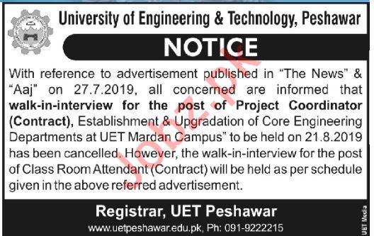 University of Engineering & Technology Walk In Interviews