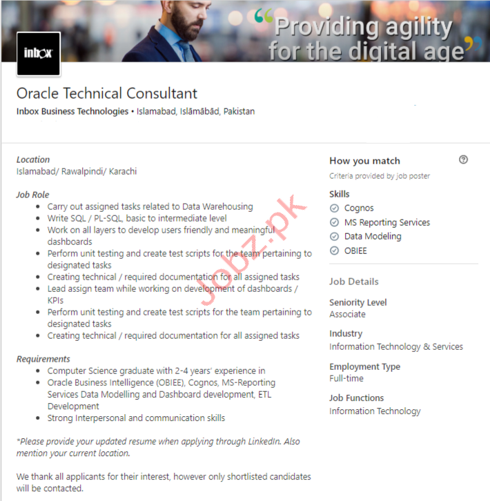 Oracle Technical Consultant Islamabad Jobs