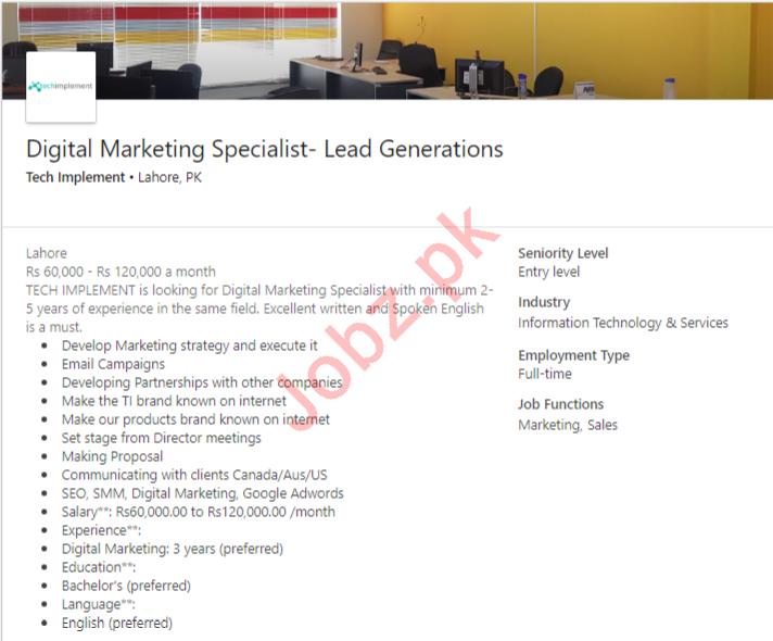 Digital Marketing Specialist Job in Lahore
