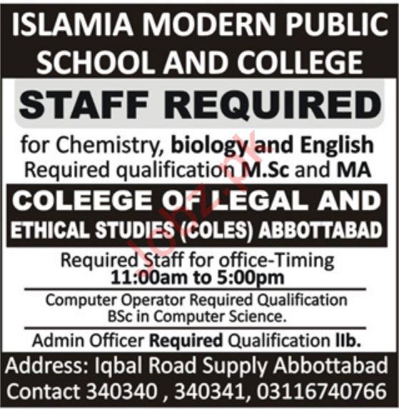 Islamic Modern Public School & College Jobs in Abbottabad