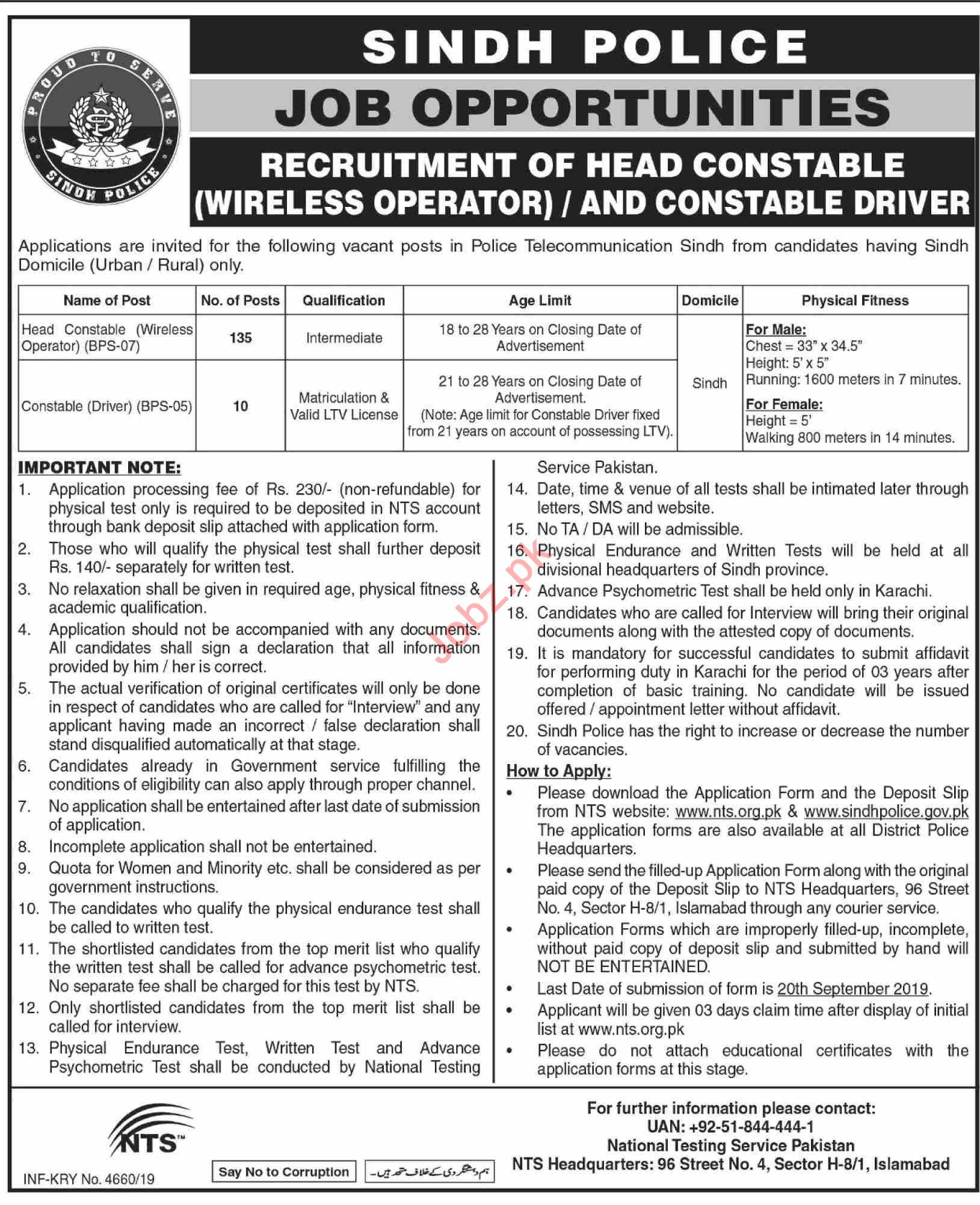 Sindh Police Jobs 2019 for Head Constable