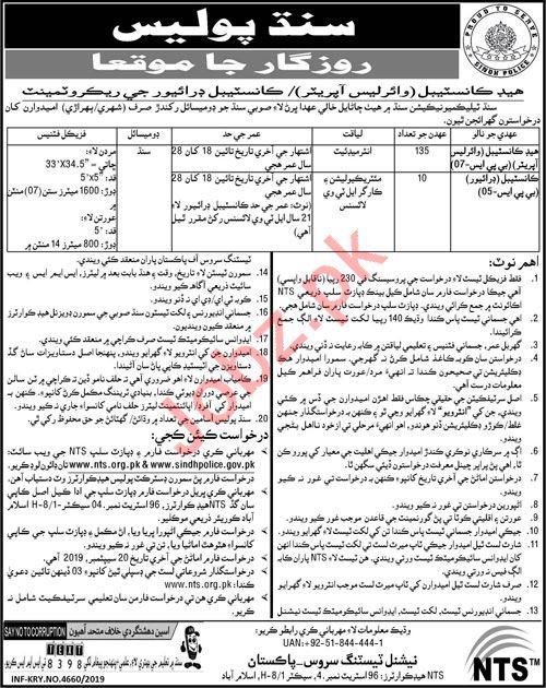 Sindh Police Jobs 2019 for Head Constable & Constable Driver