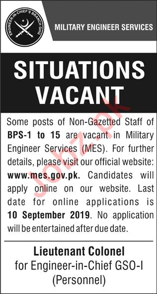 Sub Engineer Electrical jobs MES Military Engineering