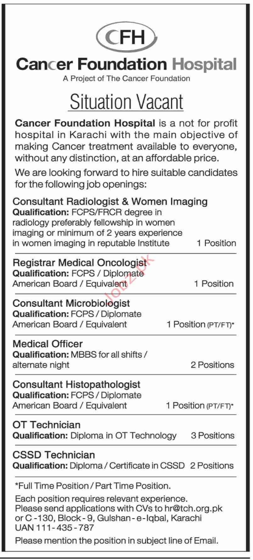 Cancer Foundation Hospital Karachi Jobs