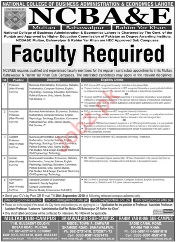 National College Of Business Administration & Eco Jobs