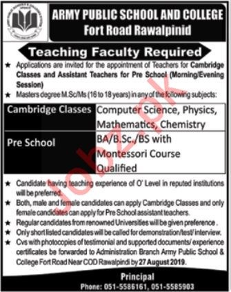 Army Public School & College Teaching Faculty Jobs 2019