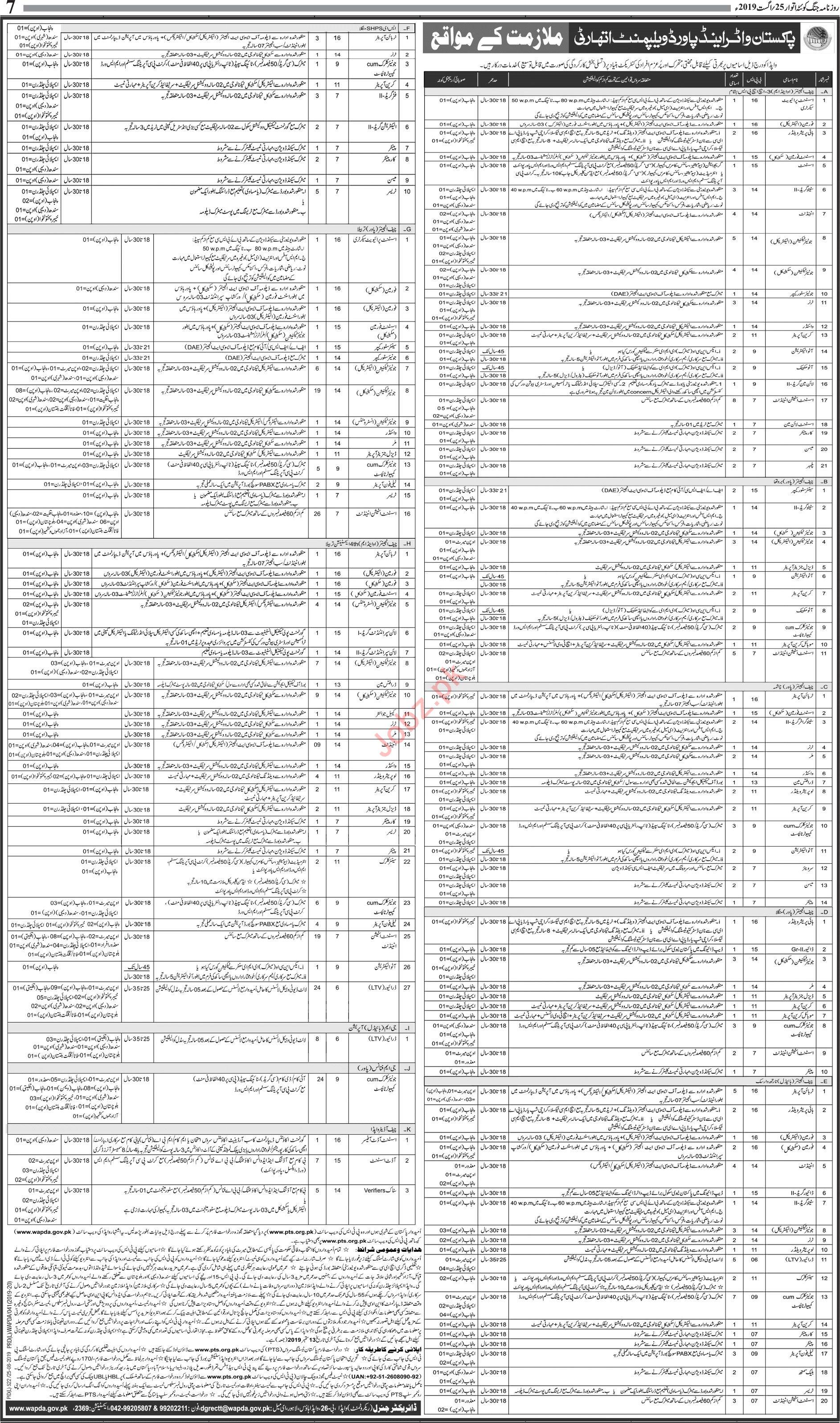 WAPDA Pakistan Water & Power Development Authority Jobs 2019