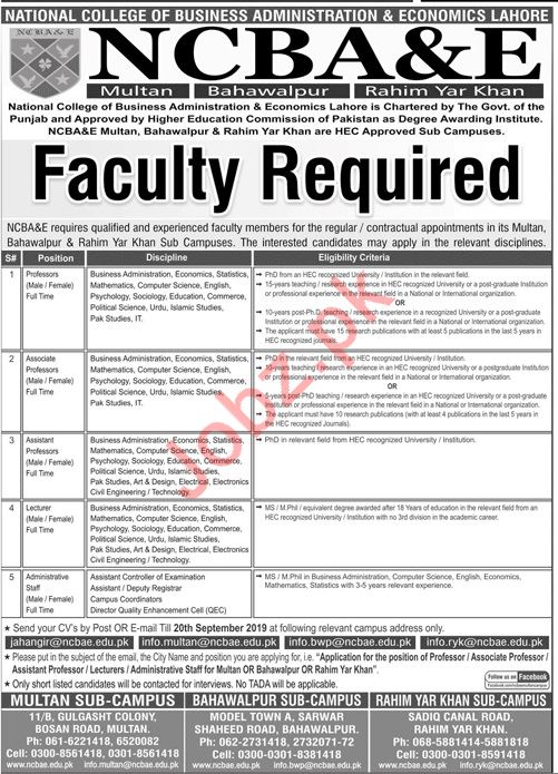 National College of Business Administration & Economics Jobs