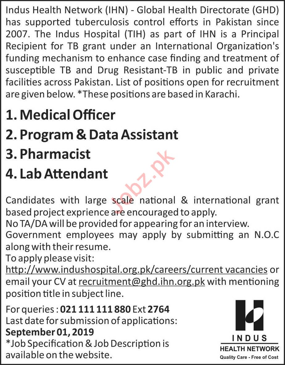 NGO Indus Health Network Jobs in Karachi 2019 Job