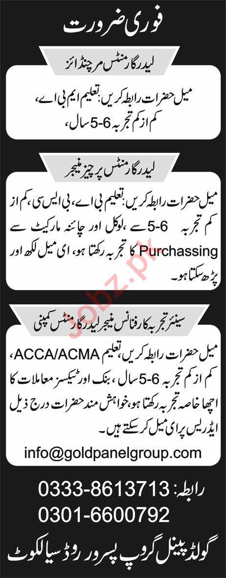 Merchandiser Purchase Manager Jobs in Sialkot