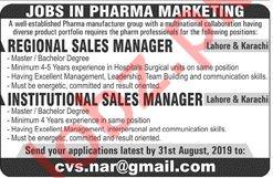 Pharma Marketing Jobs 2019 in Lahore & Karachi