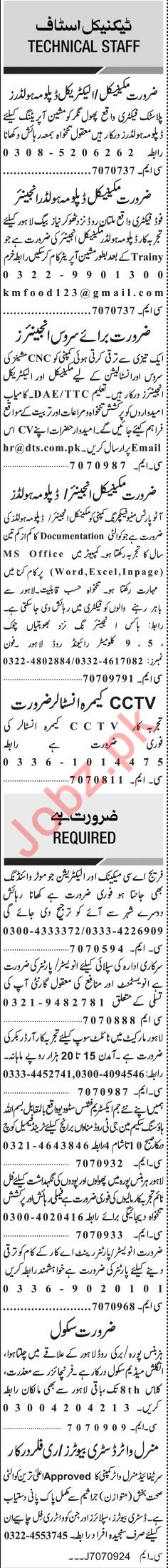 Jang Sunday Classified Ads 25th Aug 2019 for Technical Staff