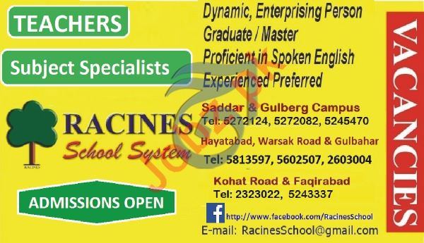 Racines School System Peshawar Jobs for Teachers