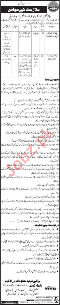 Sindh Police Jobs for Head Constable & Constable Drivers