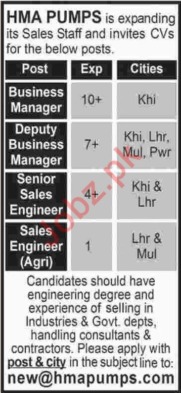 HMA Pumps Karachi Jobs for Managers & Sales Engineers