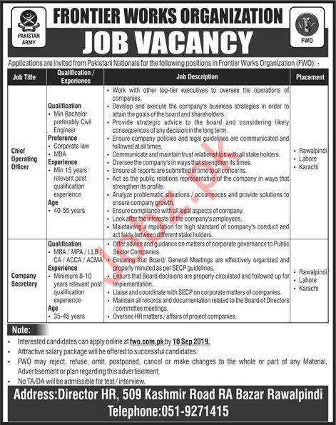 Pakistan Army Frontier Works Organization FWO Jobs 2019