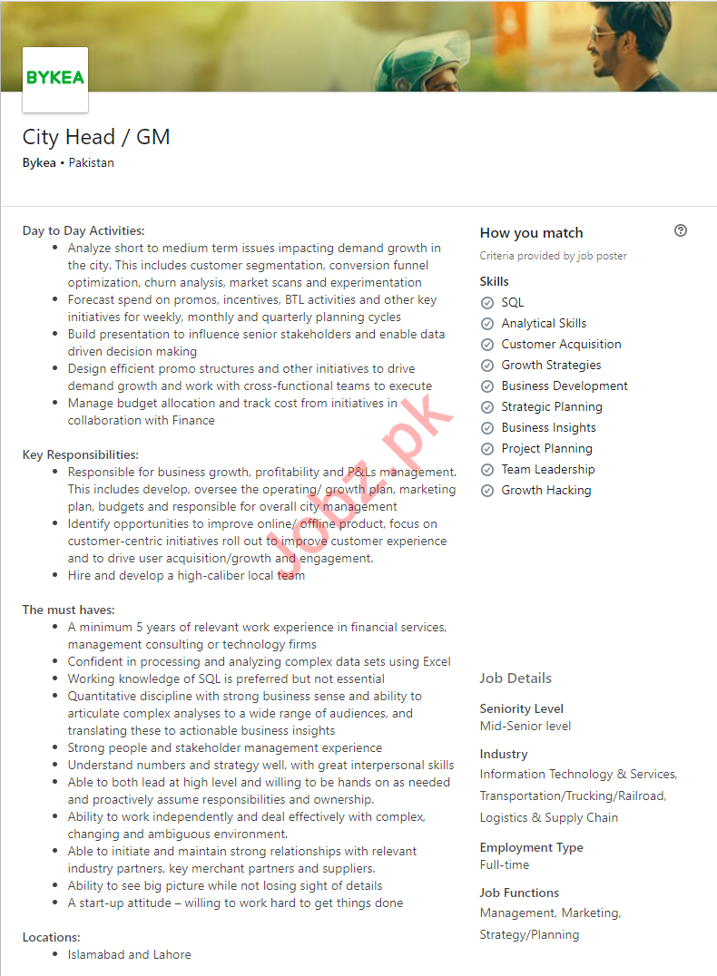 City Head & General Manager Jobs in Islamabad & Lahore