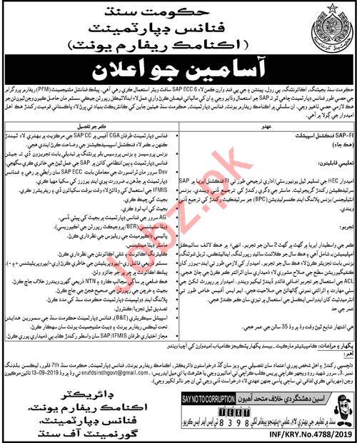 Finance Department Economic Reform Unit Jobs For Karachi