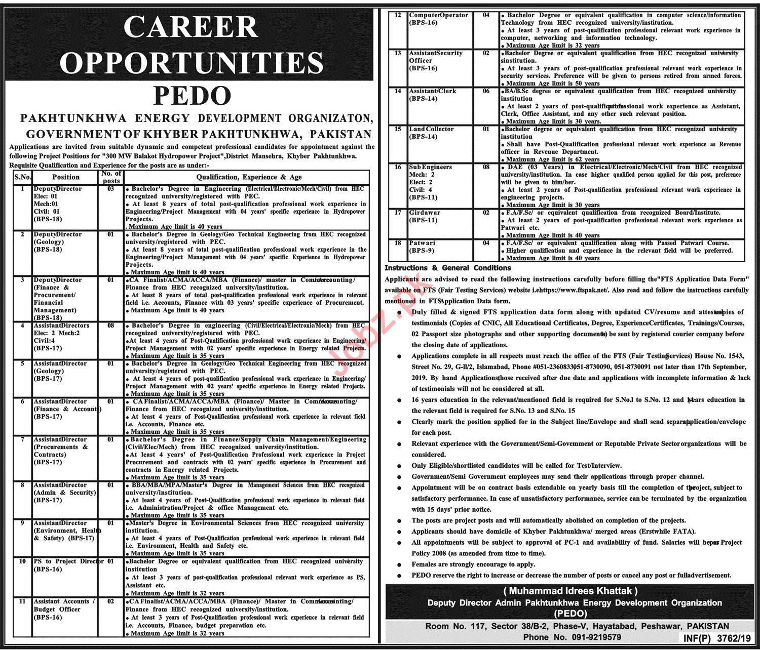 Pakhtunkhwa Energy Development Organization Jobs via FTS
