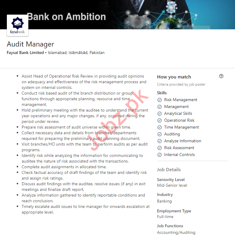 Audit Manager Job in Islamabad