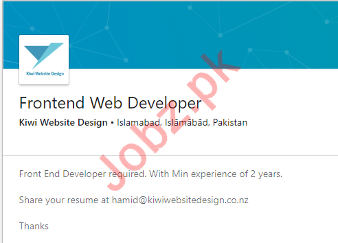 Frontend Web Developer Job in Islamabad