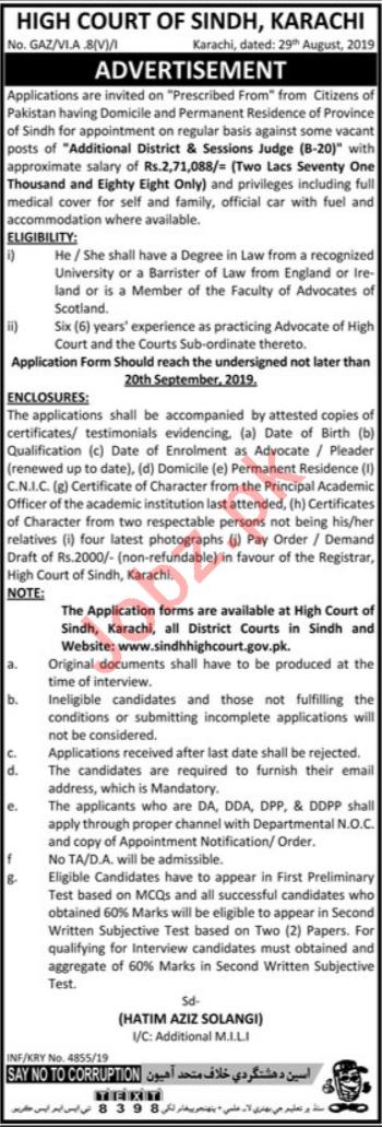High Court of Sindh Jobs For Judges in Karachi