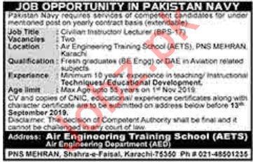 Pakistan Navy Jobs For Civilian Instructor & Lecturer