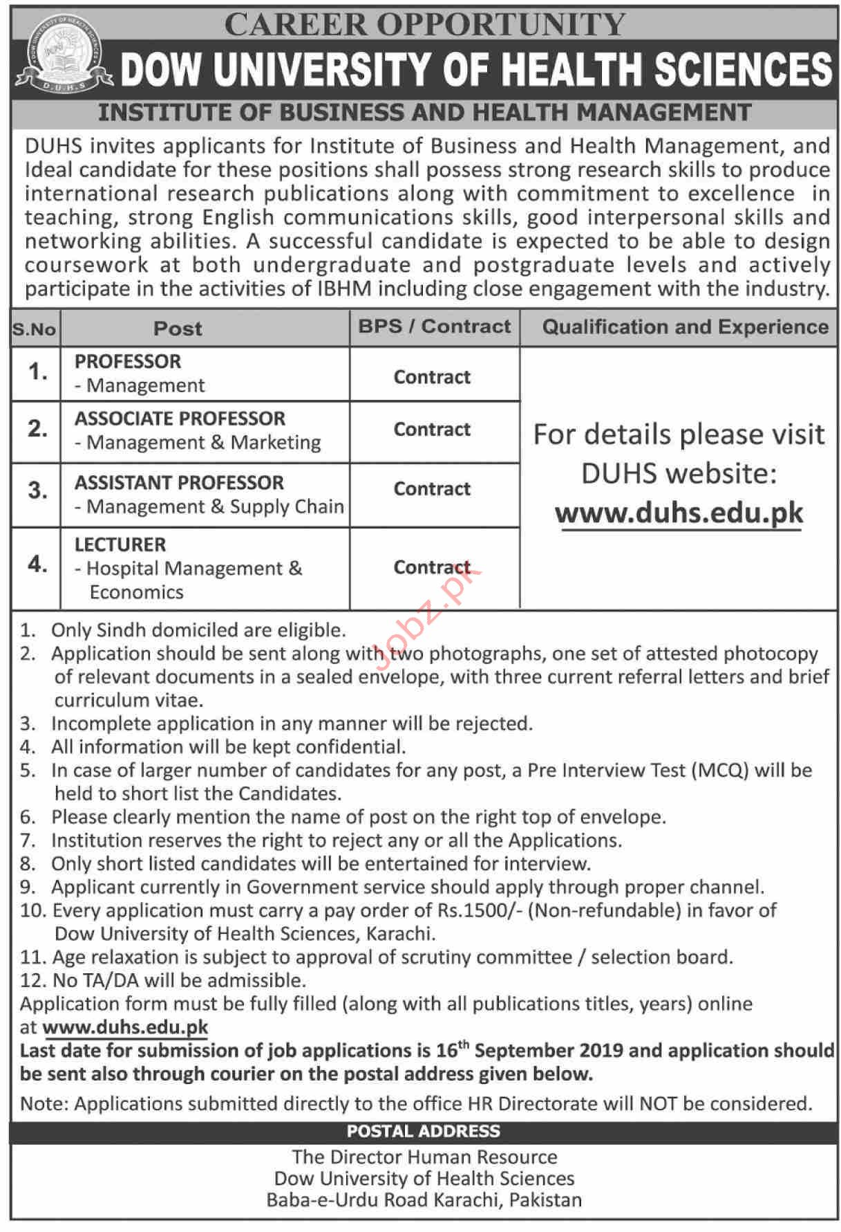 Dow University of Health and Sciences Jobs