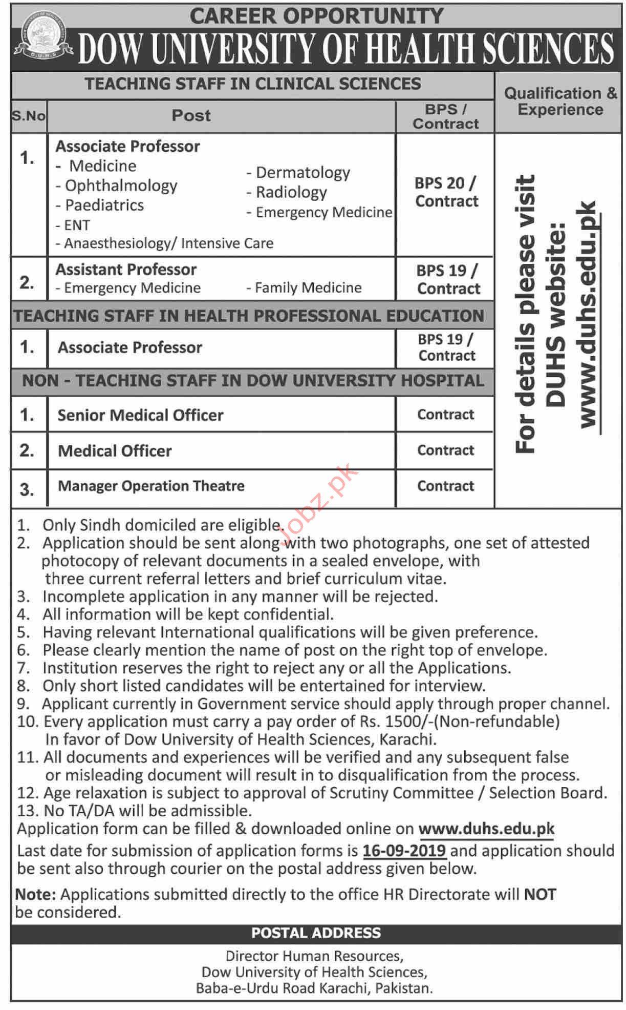 Dow University of Health and Sciences Teaching Staff Jobs