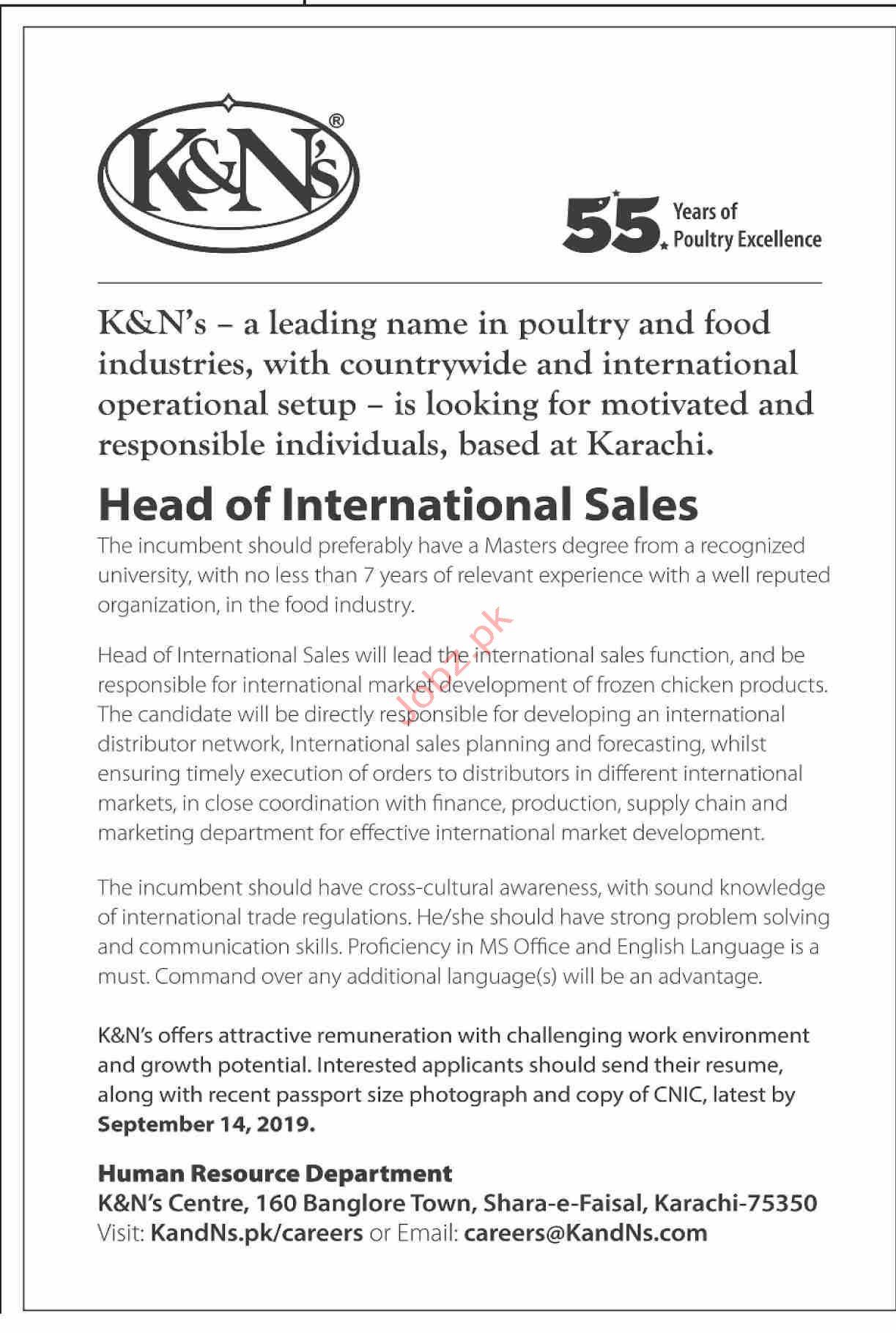 K&Ns Head of International Sales Jobs