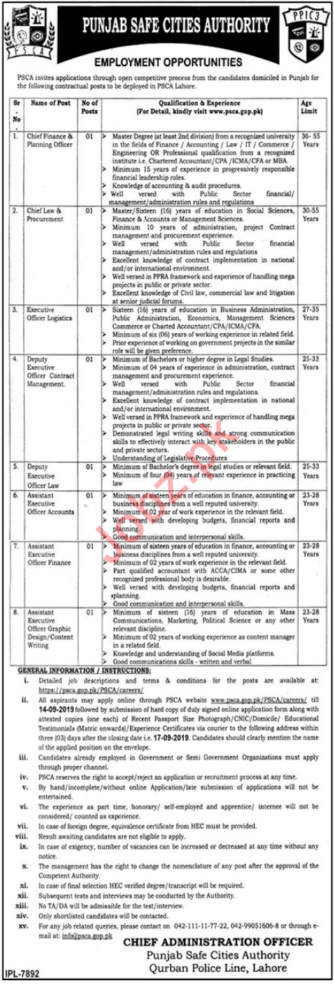Punjab Safe Cities Authority PSCA Jobs For Lahore