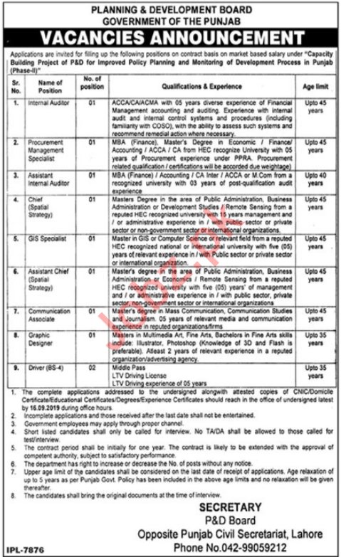 Planning & Development Board Jobs 2019 For Lahore