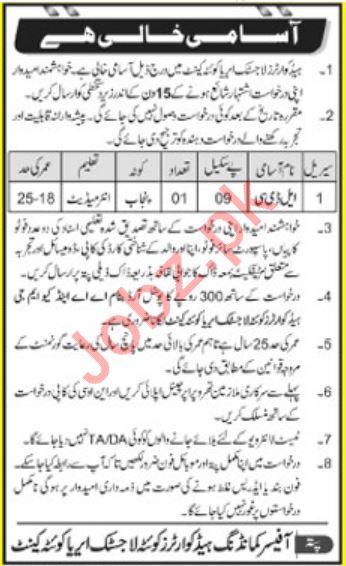 Pakistan Army Headquarters Logistic Area Quetta Cantt Jobs