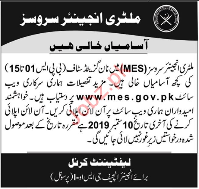 Pakistan Army Military Engineer Services MES Jobs 2019 Job