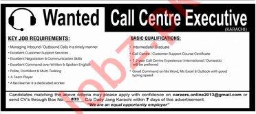 Call Center Executive Jobs 2019 in Karachi