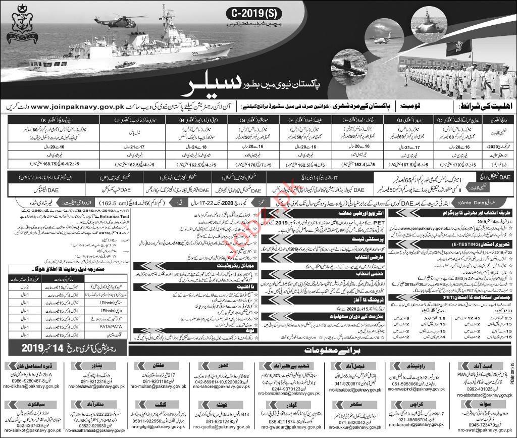 Pakistan Navy Sailor Jobs