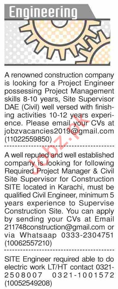 Dawn Sunday Classified Ads 1st Sep 2019 for Engineering