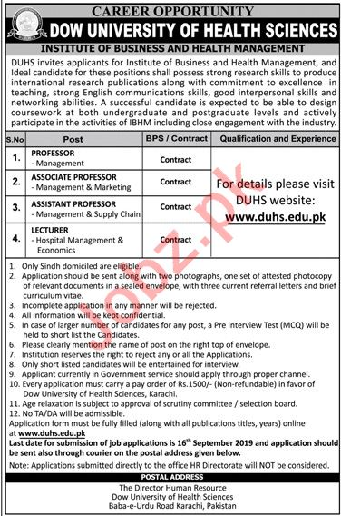 Institute of Business And Health Management DUHS Jobs