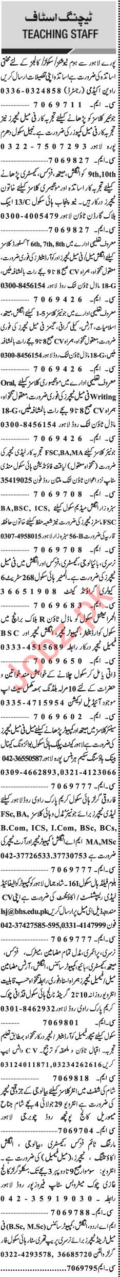 Jang Sunday Classified Ads 1st Sep 2019 for Teaching Staff