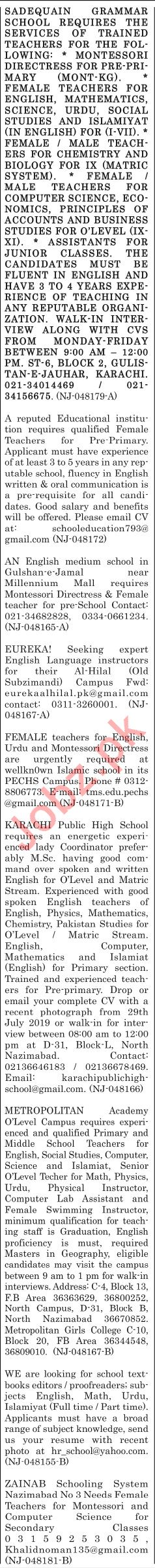 The News Sunday Classified Ads 1st Sep 2019 Teaching Staff