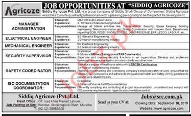 Siddiq Agricoze Lahore Jobs 2019 for Managers & Engineers