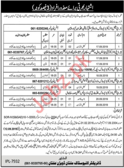 Livestock & Dairy Development Department Multan Division Job
