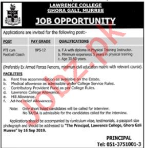 Pak Army Lawrence College Ghora Gali Murree Job 2019 Job
