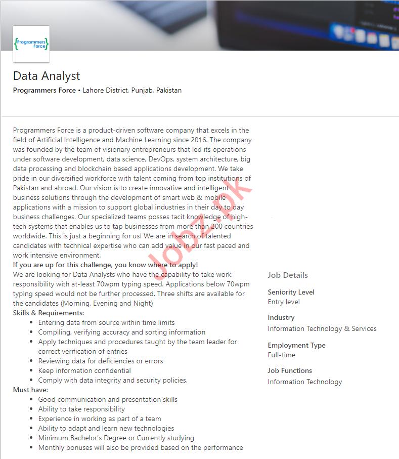 Data Analyst Job 2019 in Lahore 2019 Job Advertisement Pakistan