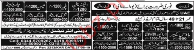Construction & Technical Staff Jobs For UAE