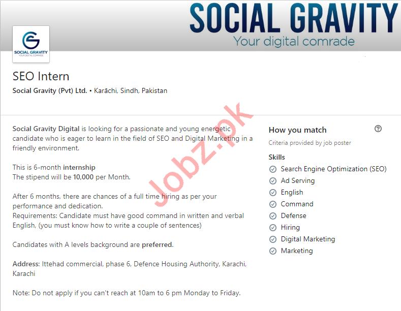 Social Gravity Pvt Ltd Job For SEO Intern in Karachi