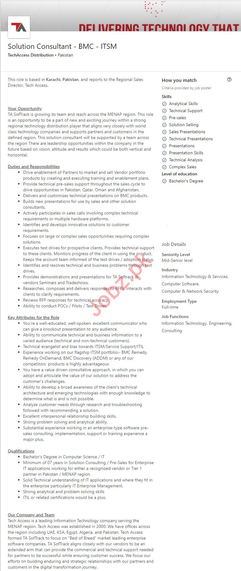 Solution Consultant Job 2019 For Karachi